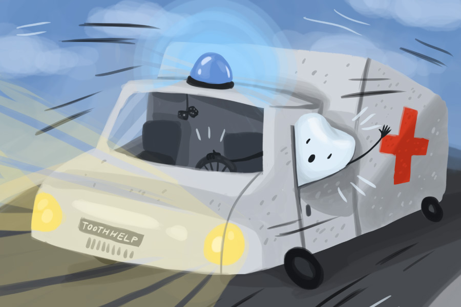 Drawing of a tooth driving an emergency vehicle for a post about a knocked-out tooth dental emergency
